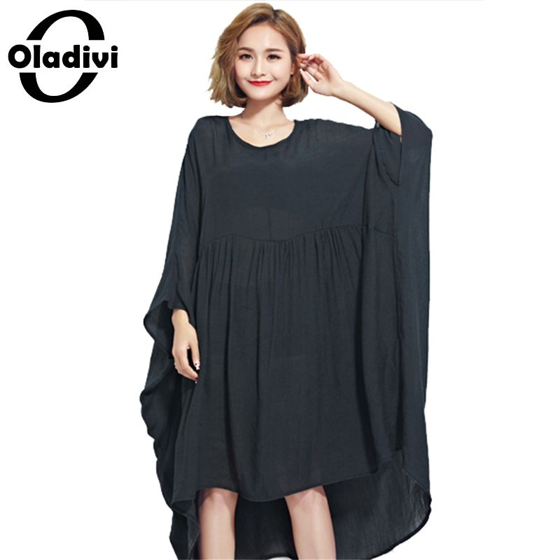 1bd0bbc2cce Oladivi Oversized Women Clothing Summer Dress Plus Size Solid Chiffon Shirts  Female Casual Large Tops Tees