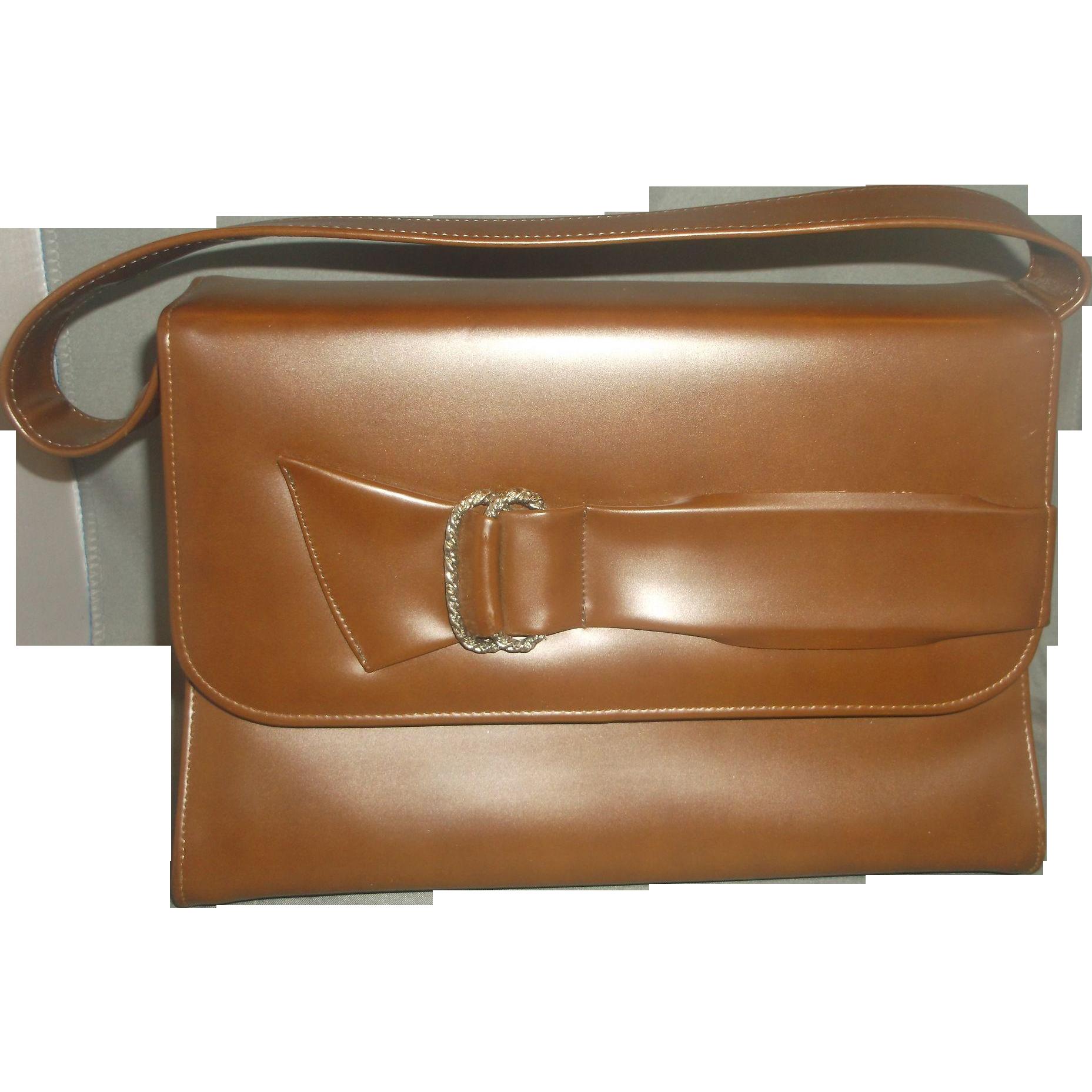 Naturalizer Brown Vinyl Handbag Bow Front