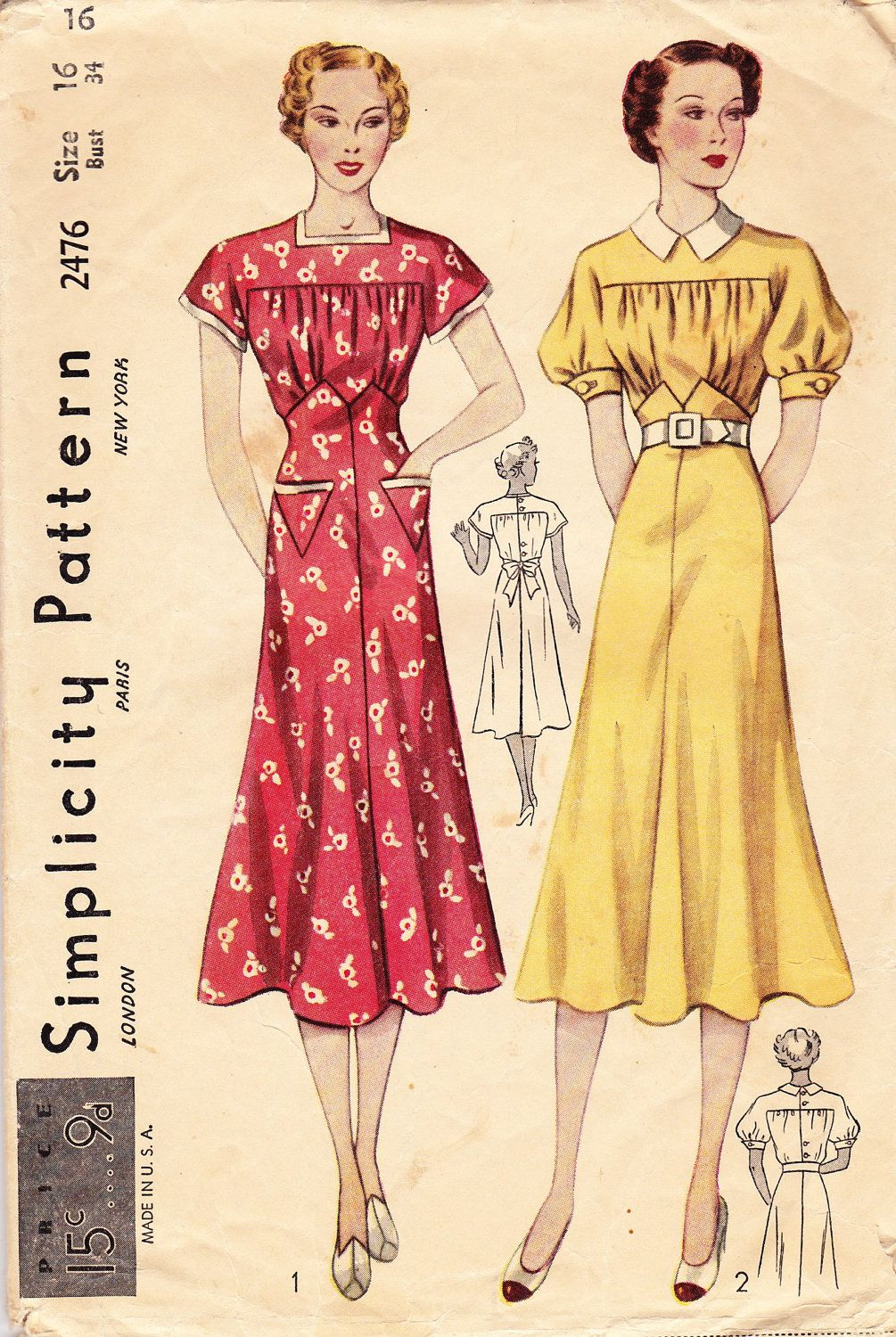 A lovely s womenus short sleeve dress pattern simplicity