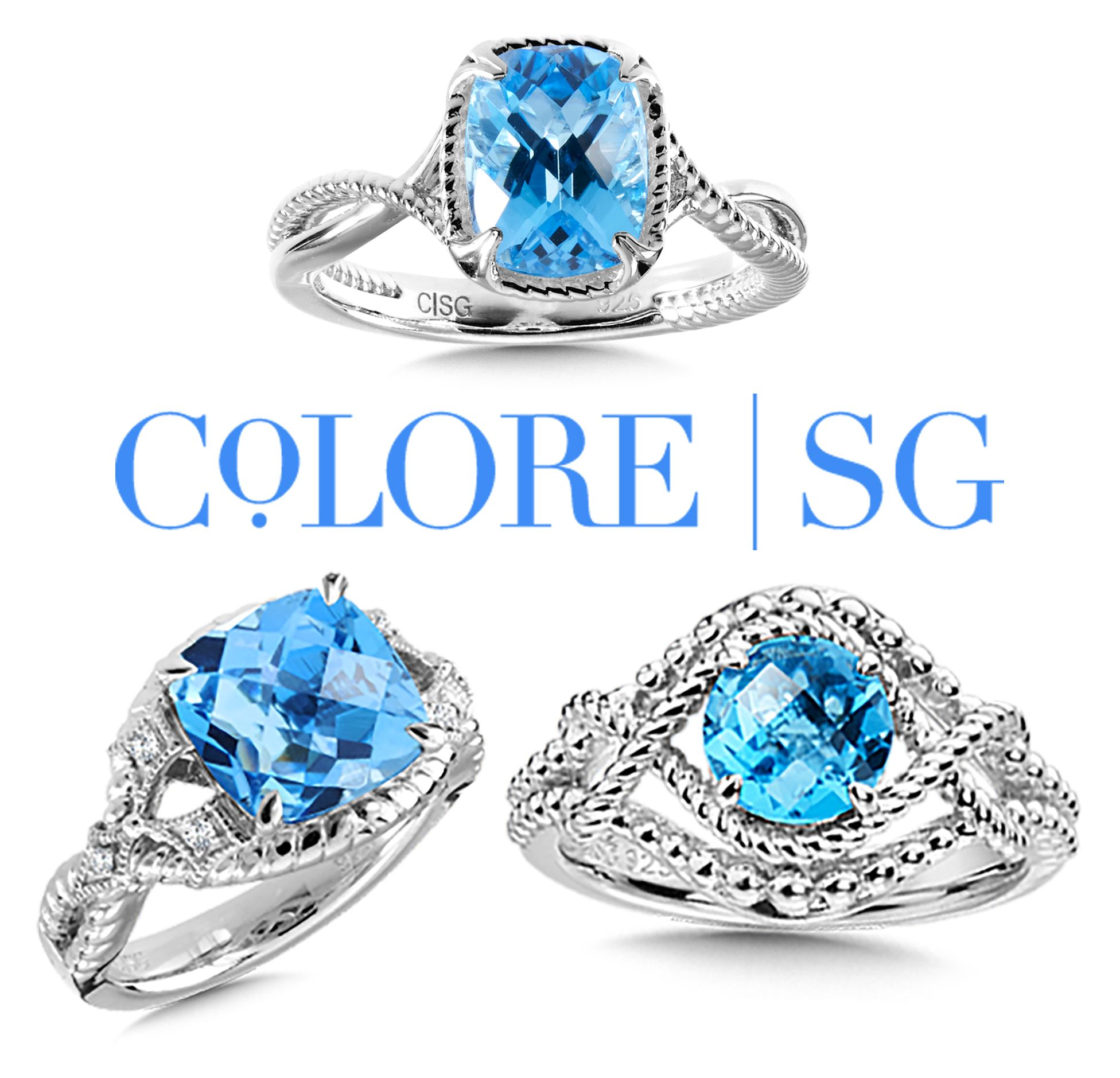 Colore SG Blue Topaz Rings for December Birthdays Blue