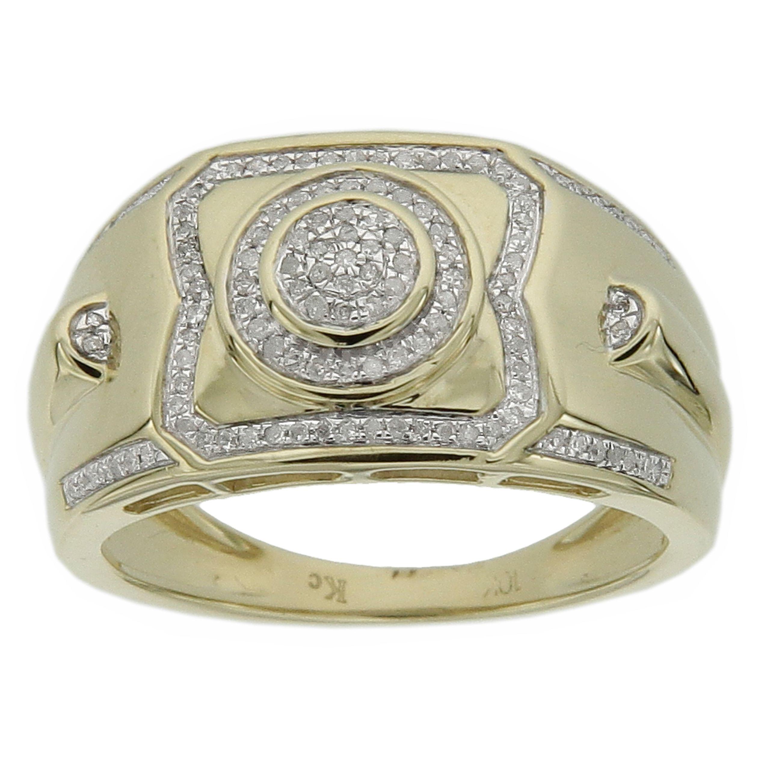 Men's 10k Gold Men's 1/4ct TDW Diamond Ring