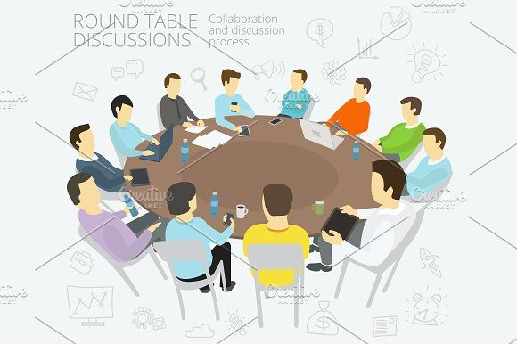 Round Table Talks Table Talk Business Card Mock Up Business Icons Vector