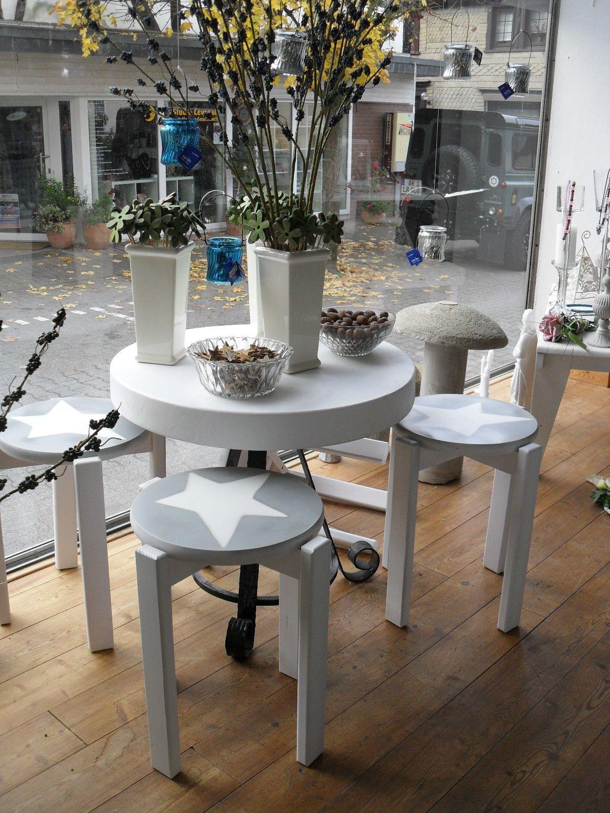 Hocker Stuhl Massiv Shabby Weiß Grau Stern EBay