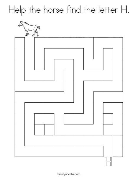 Help the horse find the letter H Coloring Page - Twisty ...