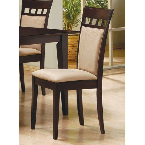 Rich Cappuccino Side Chair w/Upholstered Back (Set of 2) by Coaster Furniture by Coaster Home Furnishings. Save 62 Off!. $100.98. Solid Hardwood. 2 Chairs. Contemporary Style. Capuccino Finish. Mocha Upholstery. The Rich Cappuccino Side Chair w/Upholstered Back by Coaster is manufactured in contemporary style. This comfortable chair is crafted from solid hardwoods and features durable microfiber fabric seat and back rendered in a deep mocha finish. With its clean lines and stylish look ...