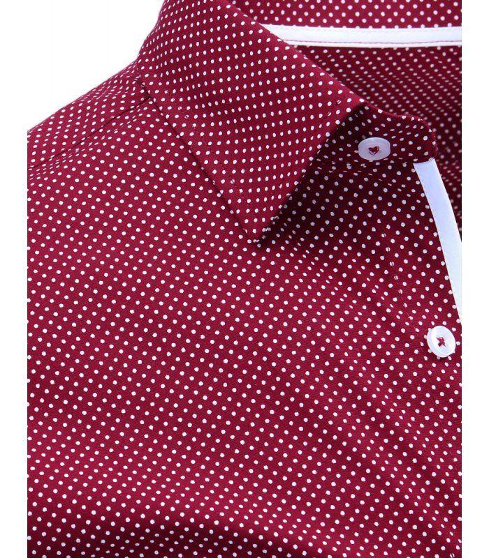 9ddc08b5cc39 Bordová pánska kockovaná košeľa s dlhými rukávmi