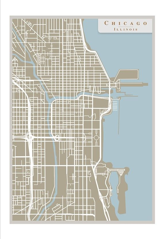 Chicago Street Map -13x19 print Chicago art poster - Home decor wall on