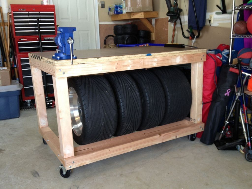Rolling Tire Storage Rack Simple Workbench With Tire Storage Back  Workbenches  Pinterest  Tired