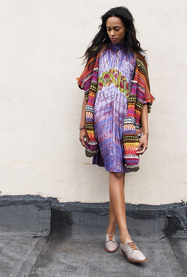 From Maryam Nassir Zadeh - absolutely gorgeous colour.  Patterns are in this season with bold and bright colours. Daring wardrobes are in this summer.  Be bold. Be beautiful!