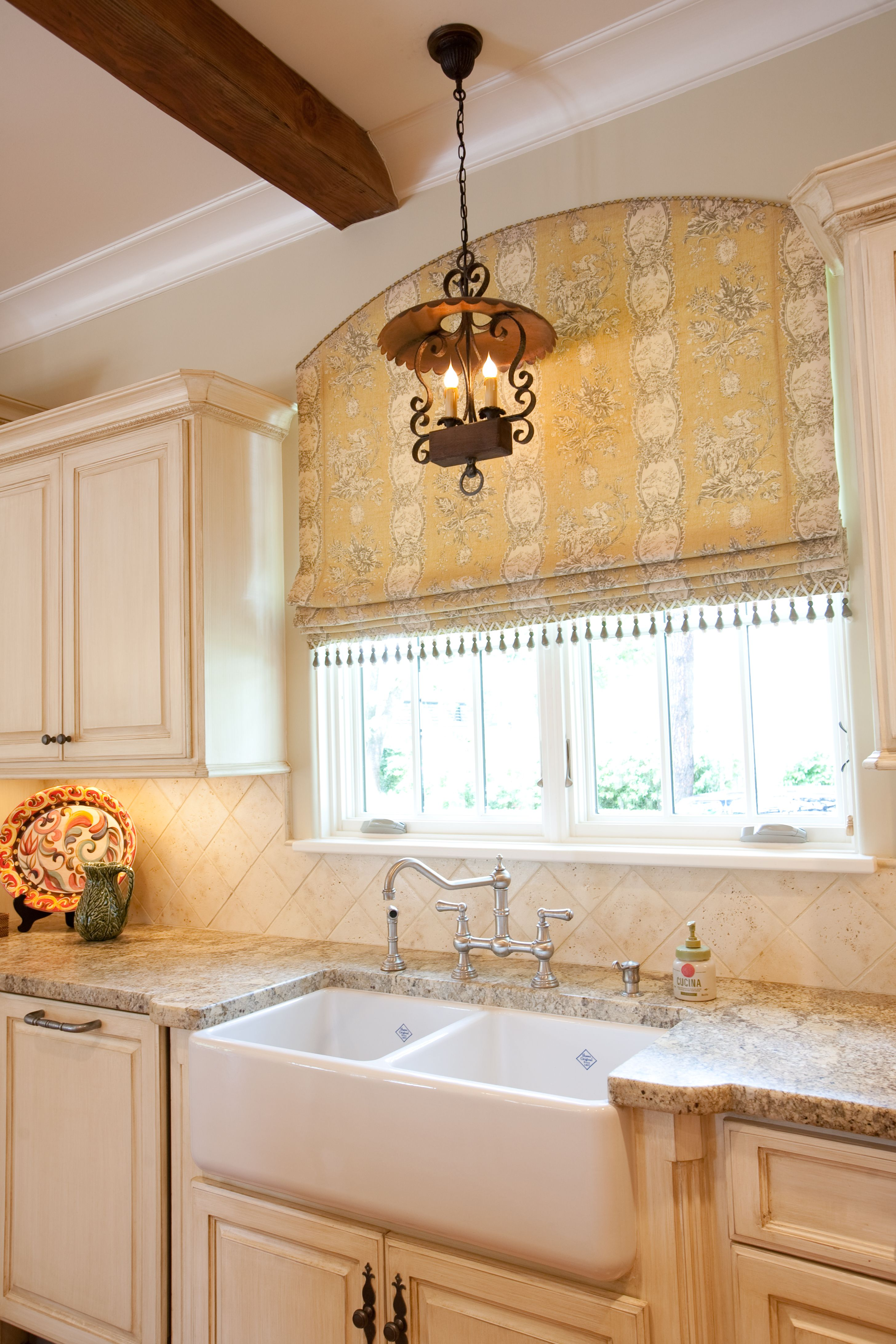 Creative Kitchen Window Treatments Hgtv Pictures Ideas: Arched Roman With Welting Along Top Edge And Fringe Along