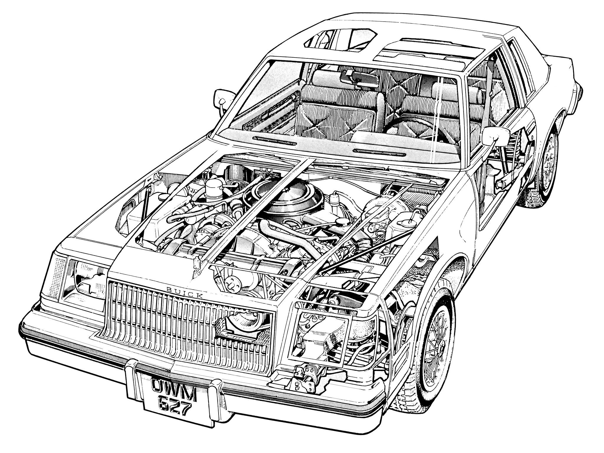 1978 79 buick regal coupe illustrated by terry davey cutaway Ford LTD Country Squire 1978 79 buick regal coupe illustrated by terry davey