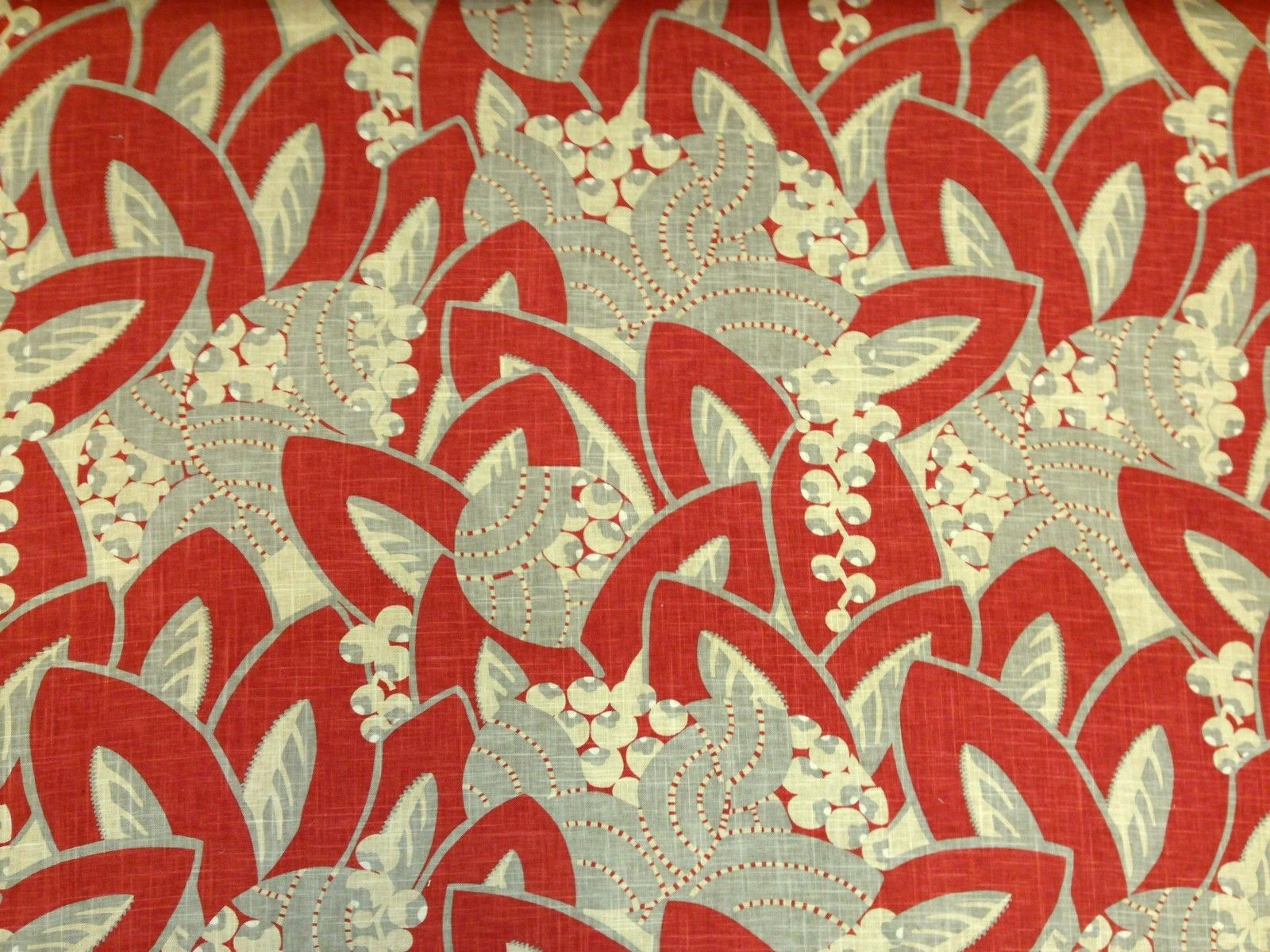 White beach print home decor fabric decorative seashell bty ebay - Edinburgh Weavers Hepburn Red Floral Art Deco Retro Curtain Fabric Linen Ebay