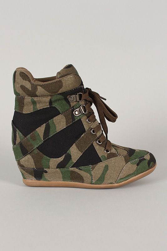 46b921bafe59 Dana-13 Camouflage High Top Lace Up Wedge Sneaker