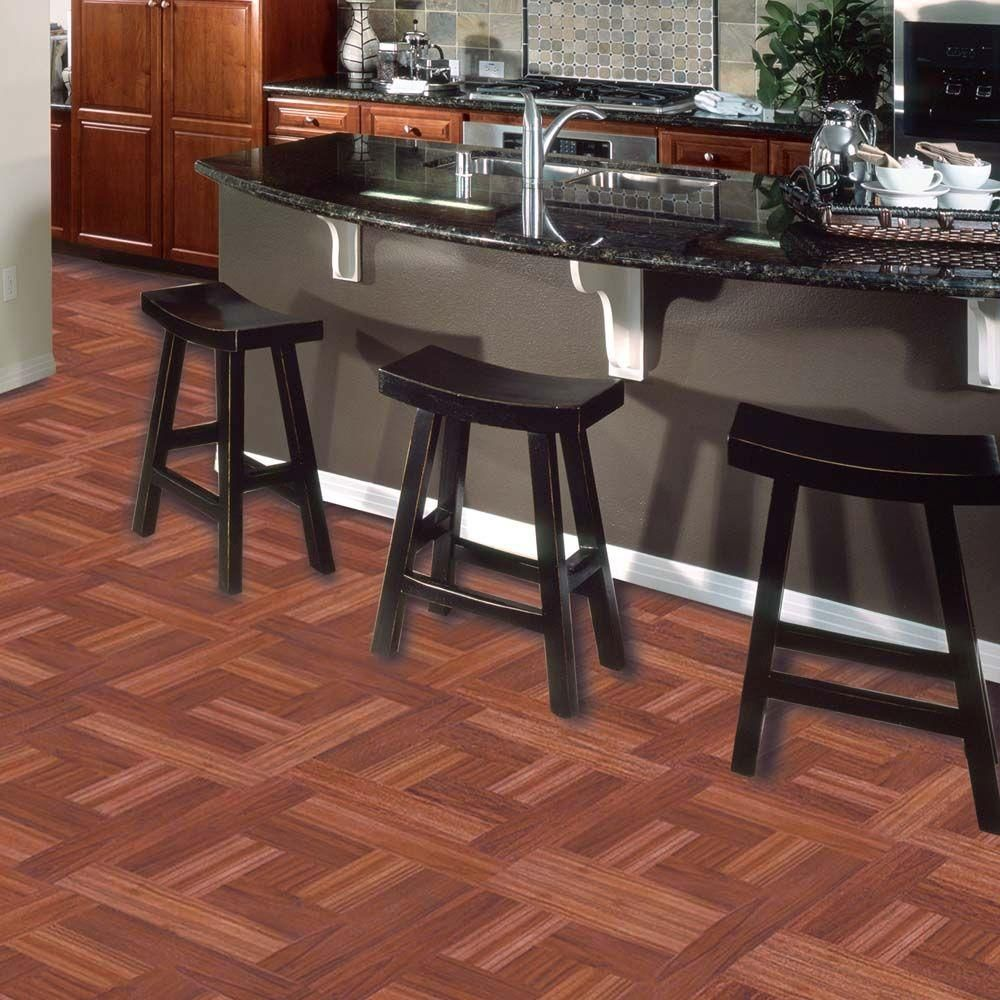 TrafficMASTER Red Oak Parquet 12 in. x 12 in. Peel and