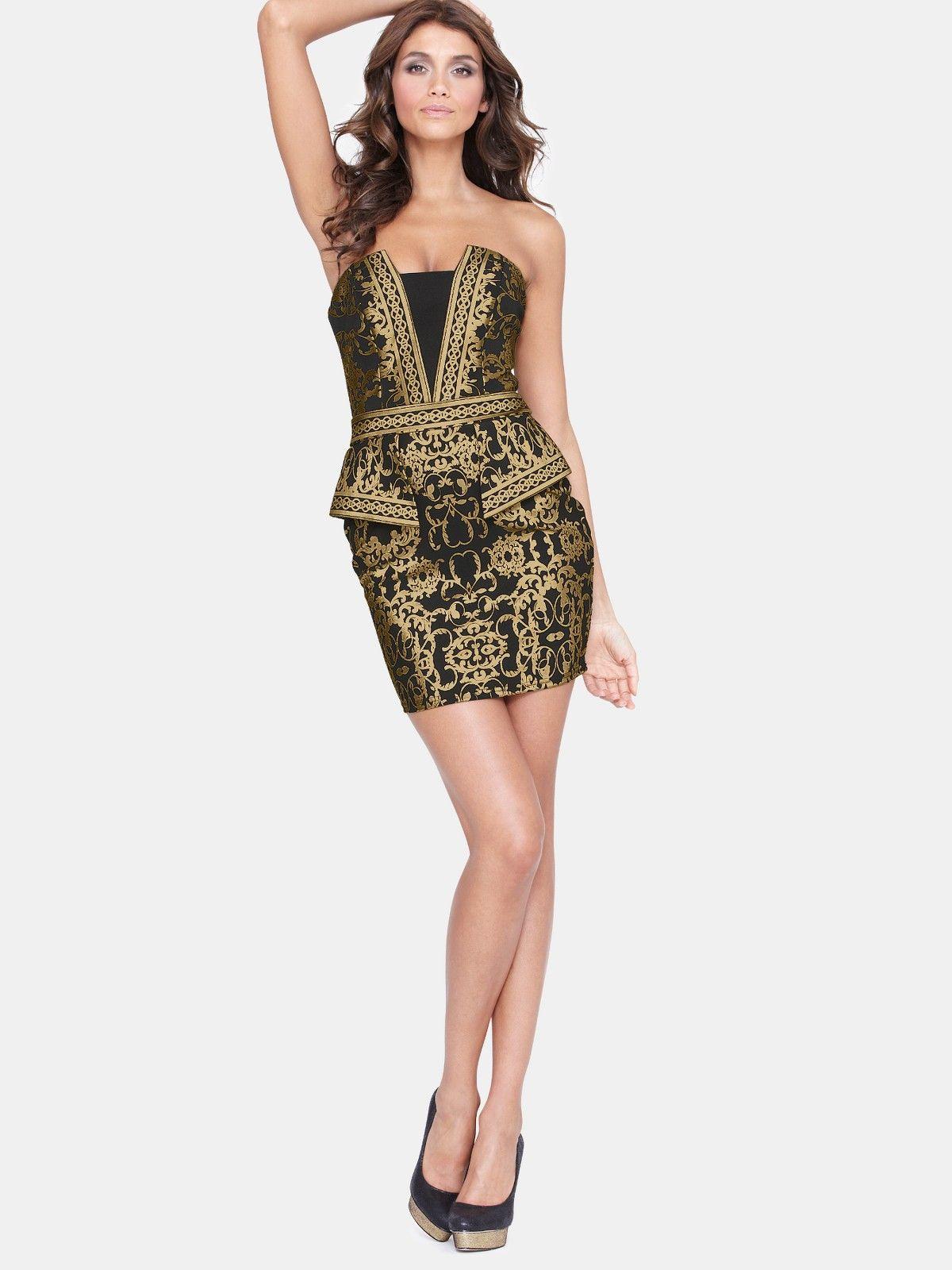 Lipsy baroque metallic bandeau dress dresses and skirts