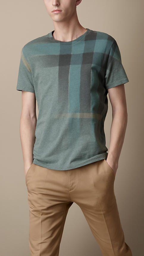 Faded Check Print T-Shirt  df6227c2c