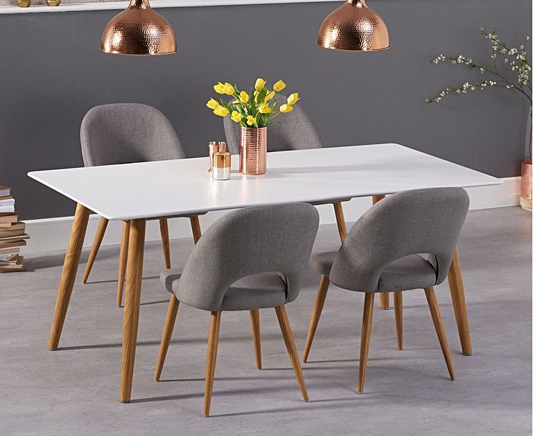 Malmo 180cm Matt White Dining Table With Halifax Fabric Wooden Leg Chairs Dining Table Oak Dining Furniture Oak Dining Table