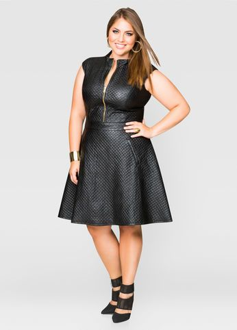 Quilted Faux Leather Skater Dress | Plus Size Fashion | Faux leather ...