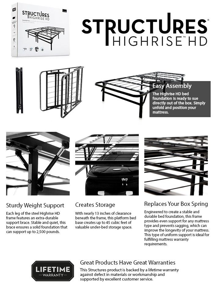 Malouf Structures High Rise Full Metal Bed Frame ST22FFHR