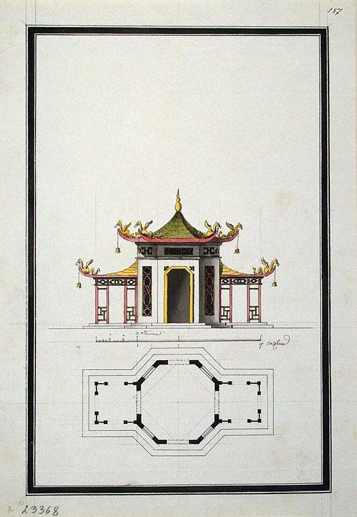 Plan and Design of the Facade of a Round Chinese Pavilion   (http://www.arthermitage.org/Ilya-Vasilyevich-Neyelov)