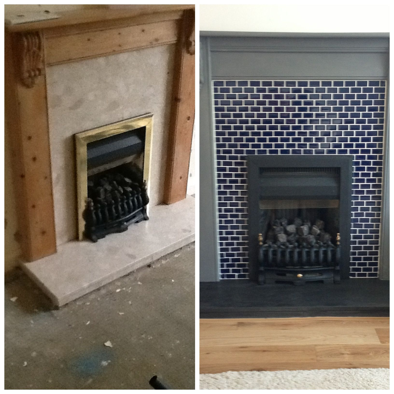 This Is My Fireplace Or Fire Surround Makeover Mosaics Over Peach Marble Painted With As Chalk Paint Fireplace Remodel Sitting Room Decor Fireplace Makeover