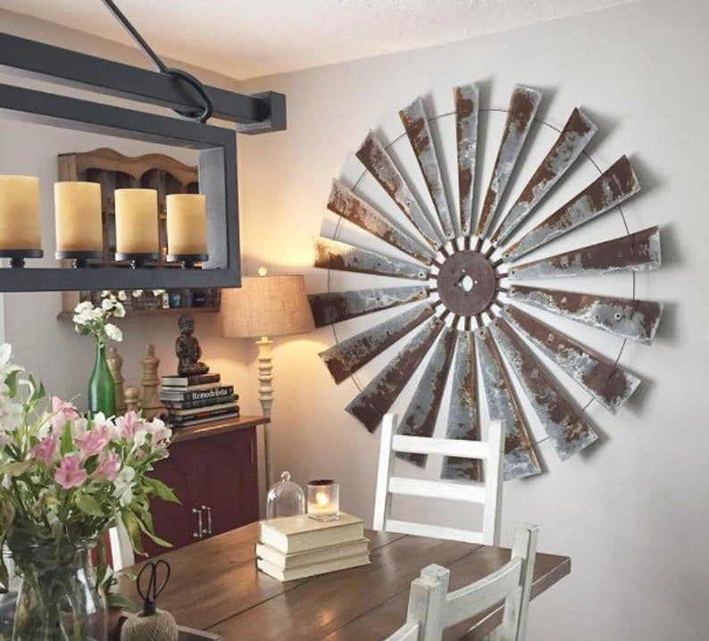Huge 60 Inch Metal Windmill Wall Decor Large Wall Space Etsy