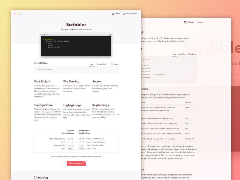 Freebie Scribbler Website Template HTML Sketch Code Project - Website code template