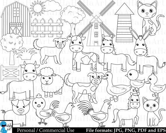 Outline Farm Animals Digital Clipart Clip Art Graphics Personal Use Commercial Use Instant Download 27 Images 00223 Digital Clip Art Clip Art Dog Outline