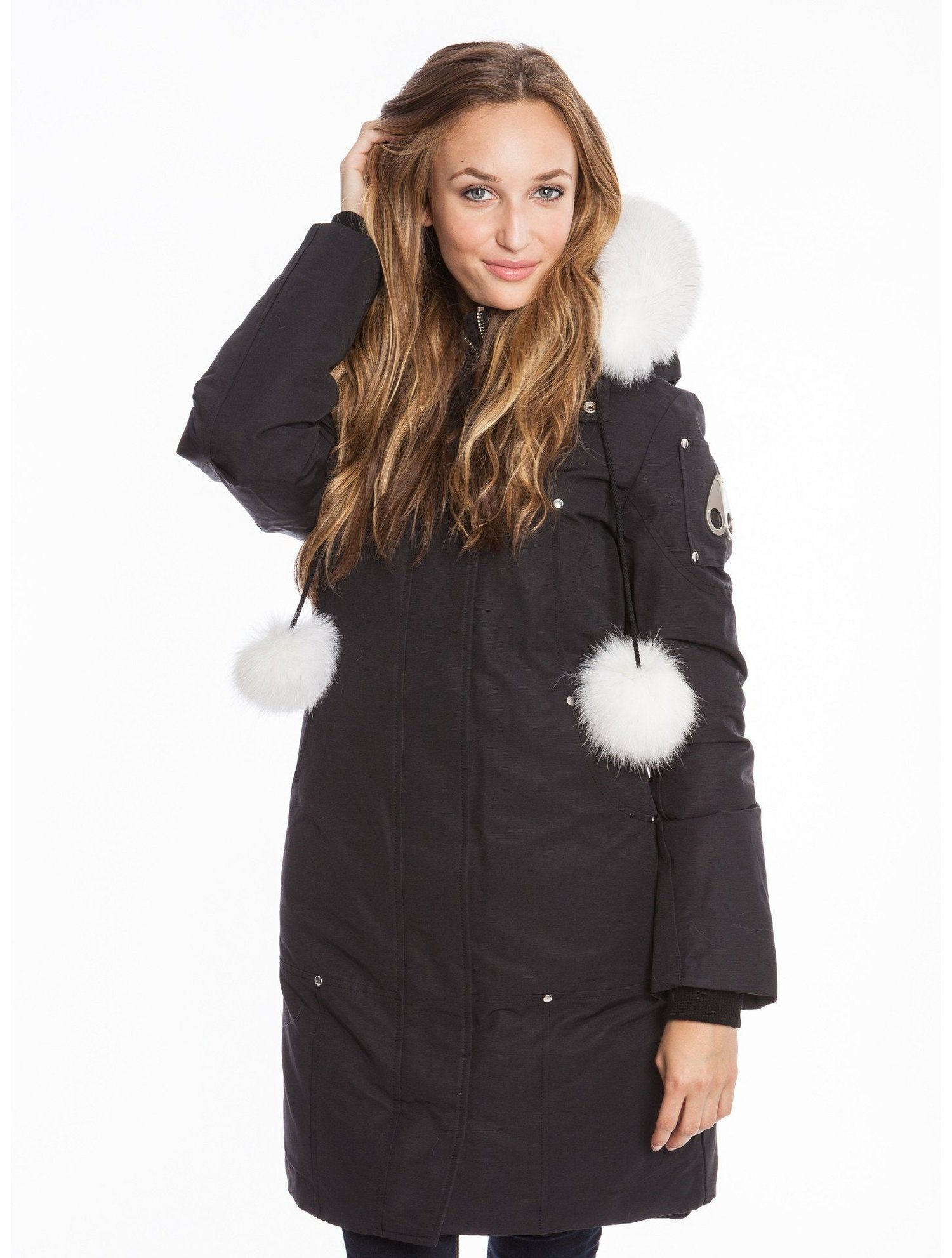 427cc89648d Moose Knuckles - Stirling Parka w/Fur Hood & Pom Poms (Black/White ...