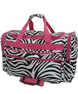 fb67b5bbe1 Hot Pink Trim Black White Zebra Duffle Dance Cheer Gym Bag Large 22 ...