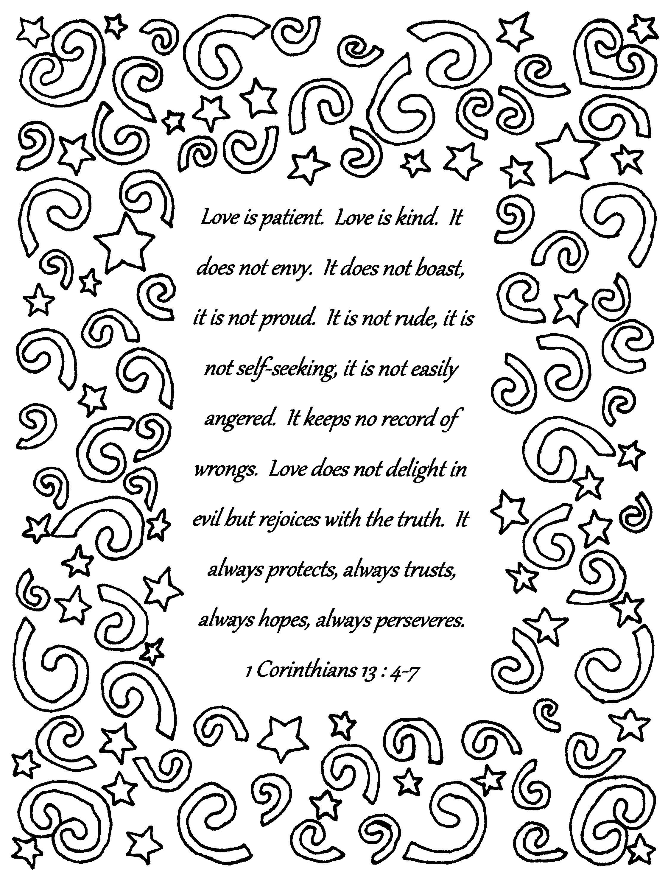 Love Is Patient 1 Corinthians 13 4 7 Bible Verse Coloring Page