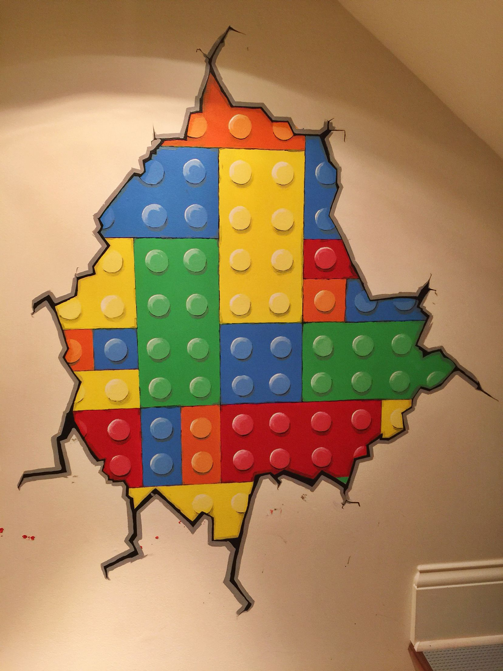 Hand Painted Mural Lego Brick Wall My Art Pinterest