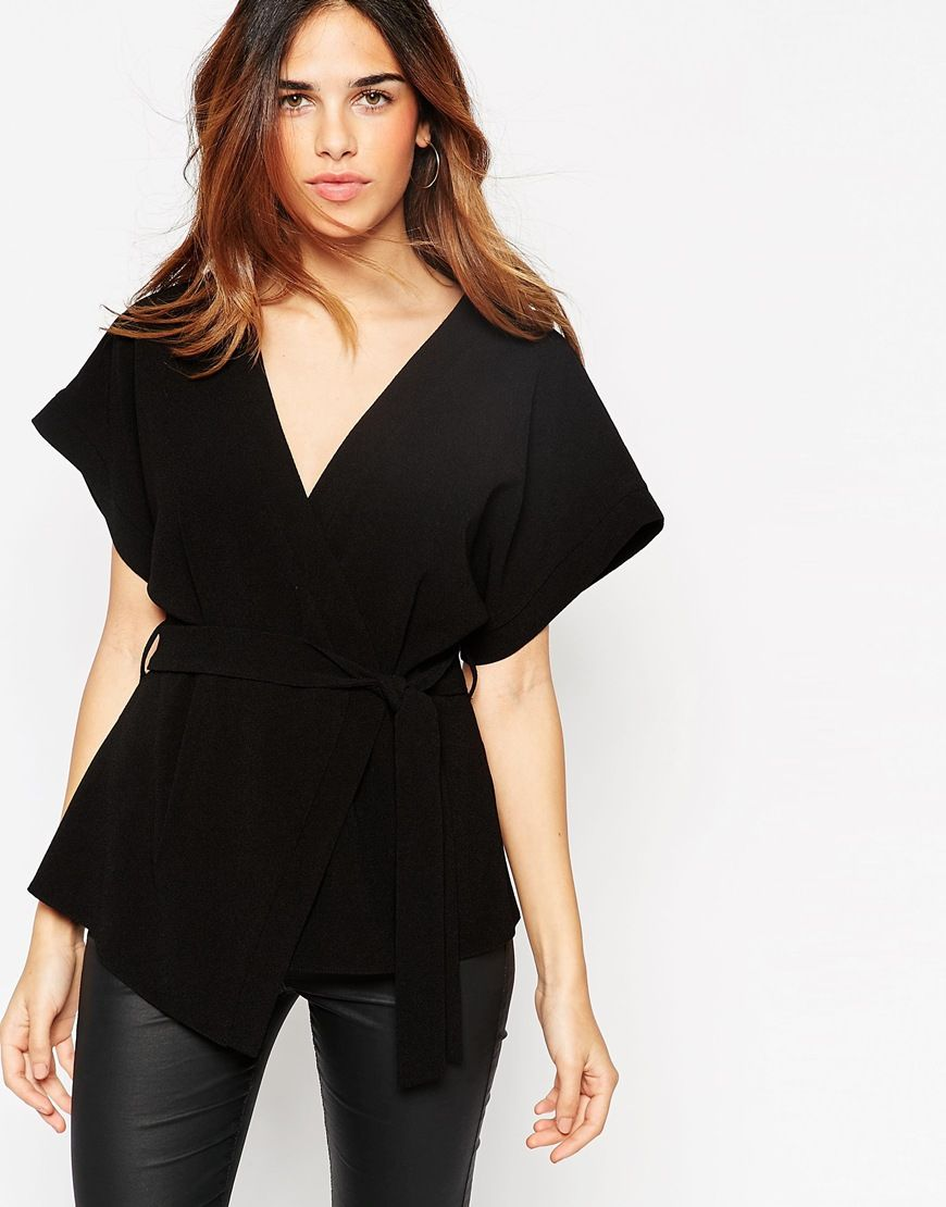 SImple, yet fabulous! and the price! ASOS+Obi+Band+Wrap+Blouse ...