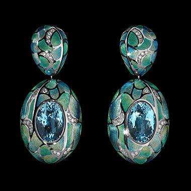 Mousson Four Seasons Earrings in Black Gold 750, Topaz Sky, Diamonds