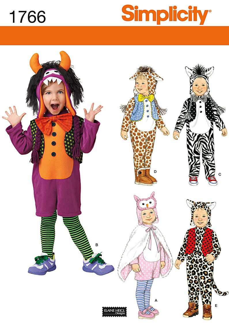 12/2012 Simplicity Toddler's Animal Costumes and Hats 1766