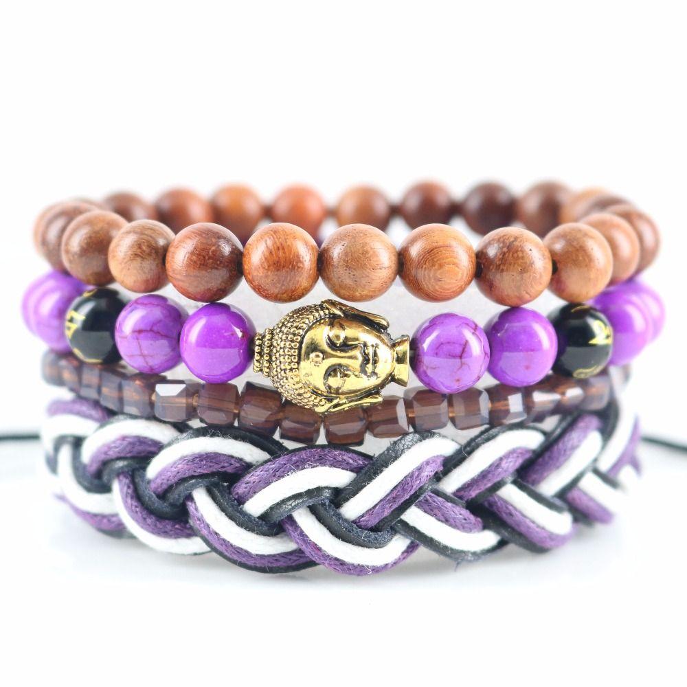 Beasivor purple calaite stones square crystal beads gautama buddha