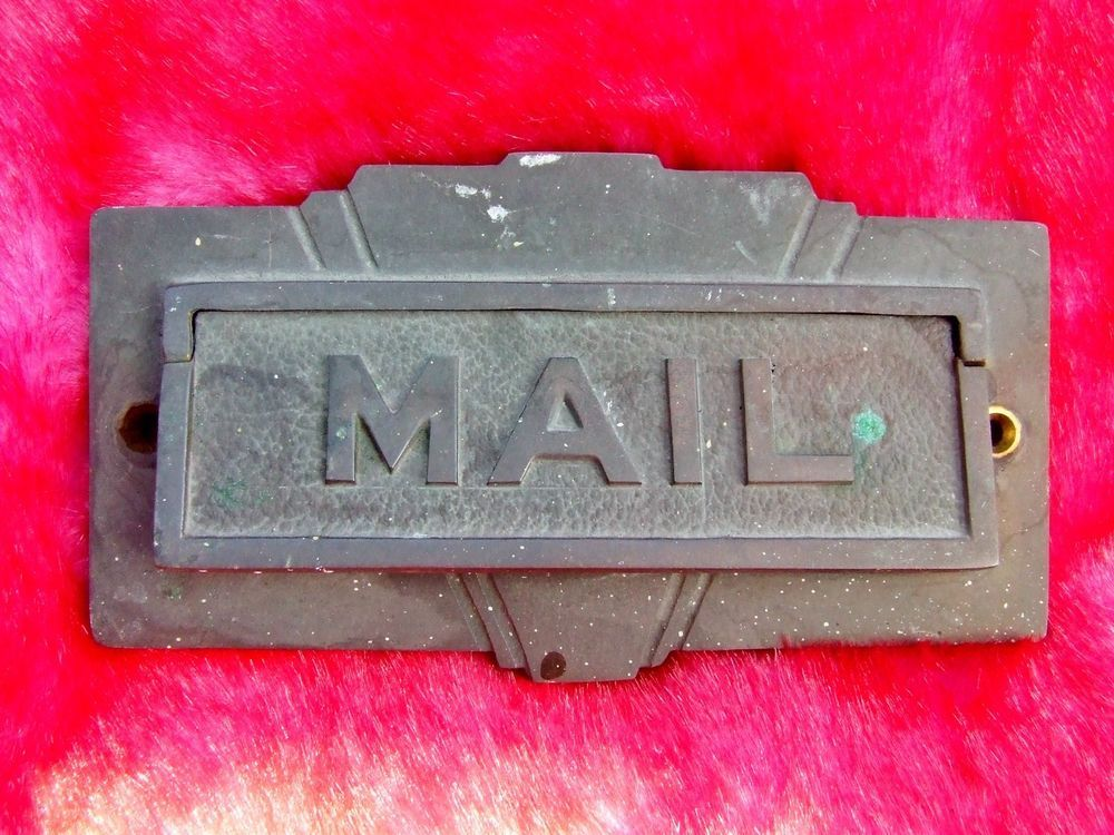 Vintage Antique Mail Box Slot Industrial Mid Century Solid Metal Door mail  slot -This is - Vintage Antique Mail Box Slot Industrial Mid Century Solid Metal