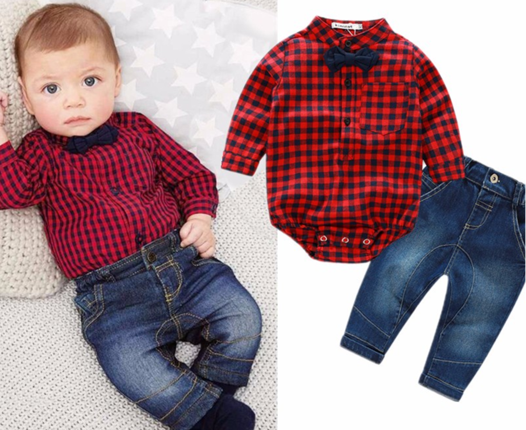 7e8e64341037 Red Checked Romper Shirt and Jeans Set