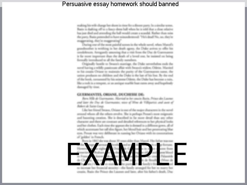 persuasive essay homework should banned research paper