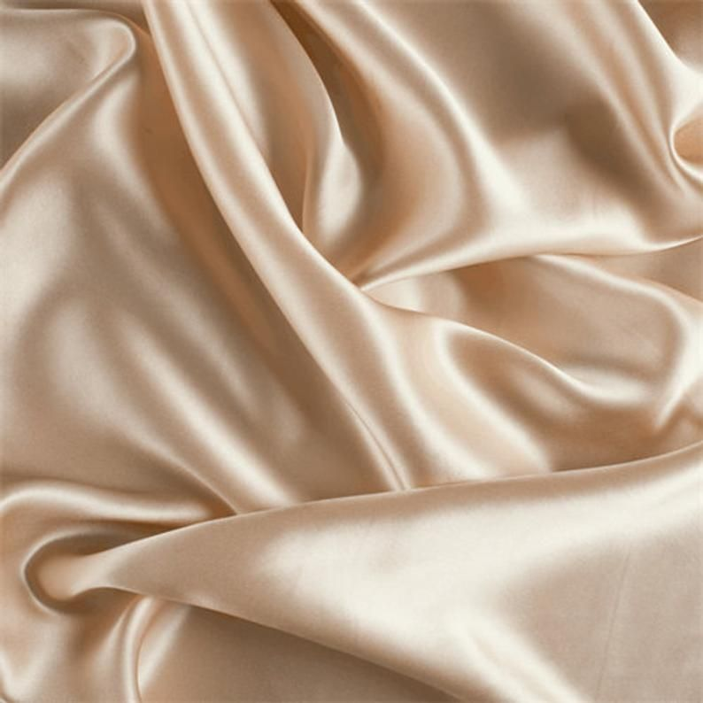 French (CHAMPAGNE)Charmeuse Stretch Silky Soft Satin Sold by the yard Fabric 60 Wide Inches Used for Decorations, Clothing,Wedding,Dresses