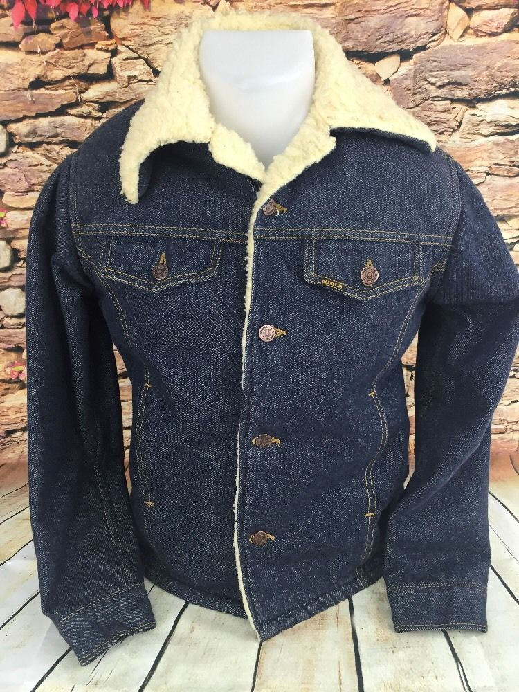 4a348c7263 Vintage 1970s Mens Sears Roebuck Sherpa Trucker Denim Jacket Coat 36 ...
