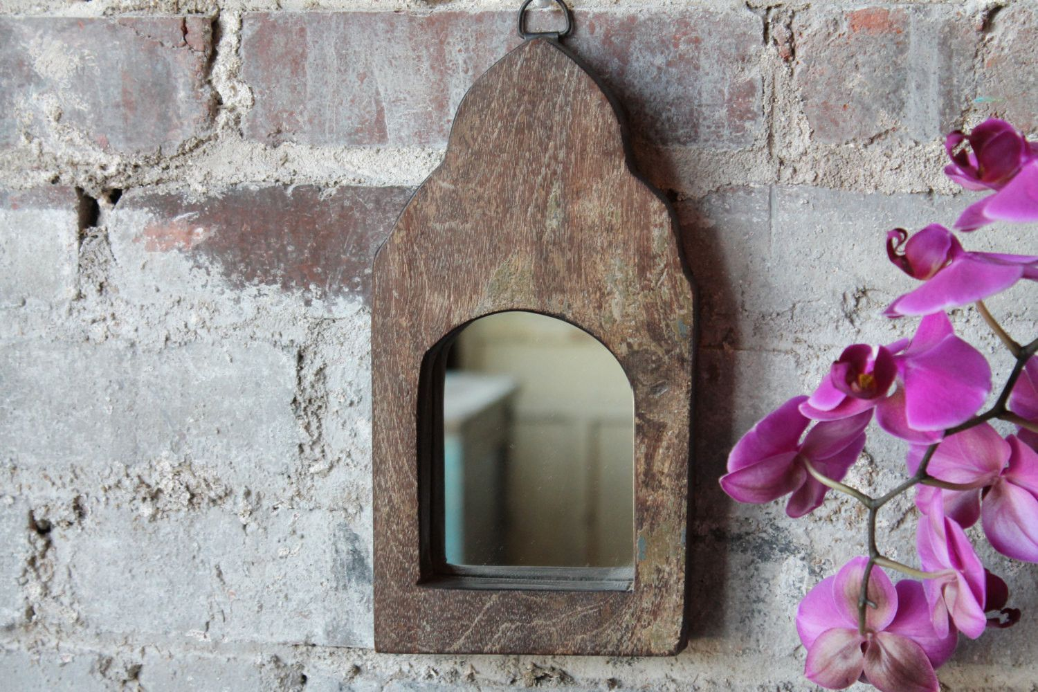 Small mirror reclaimed vintage indian door panel wall hanging art