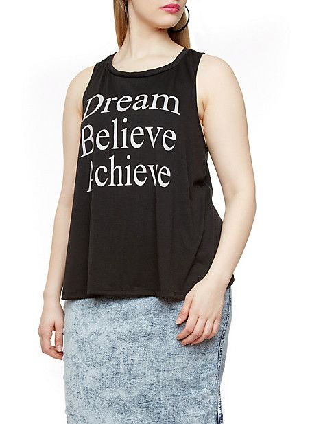 Plus Size Graphic Muscle Tee with Dream Believe Achieve Print,BLACK