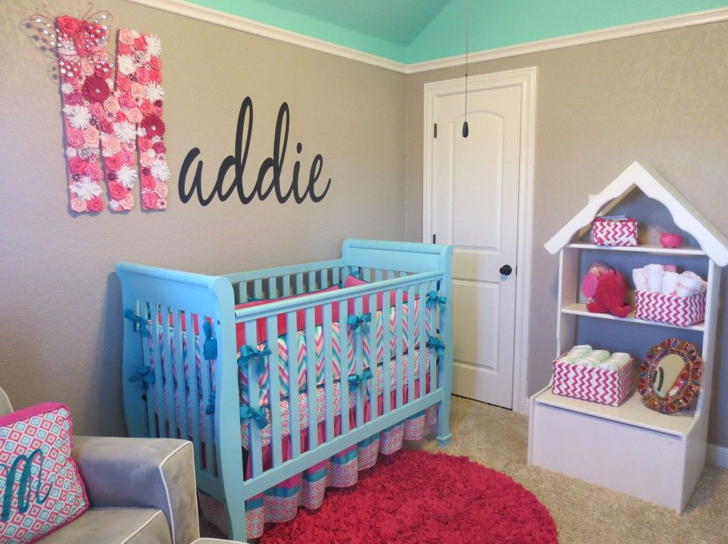 maddie 39 s pink aqua and gray chevron nursery baby stroud grey chevron nursery teal nursery. Black Bedroom Furniture Sets. Home Design Ideas