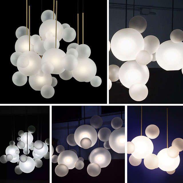 Lustre Boule De Verre Creatif Bulle De Savon Lampe A Suspension Salle A Manger Restaurant Lustres Chair Moderne Luminaire Boule En Verre Luminaire Lustre Boule
