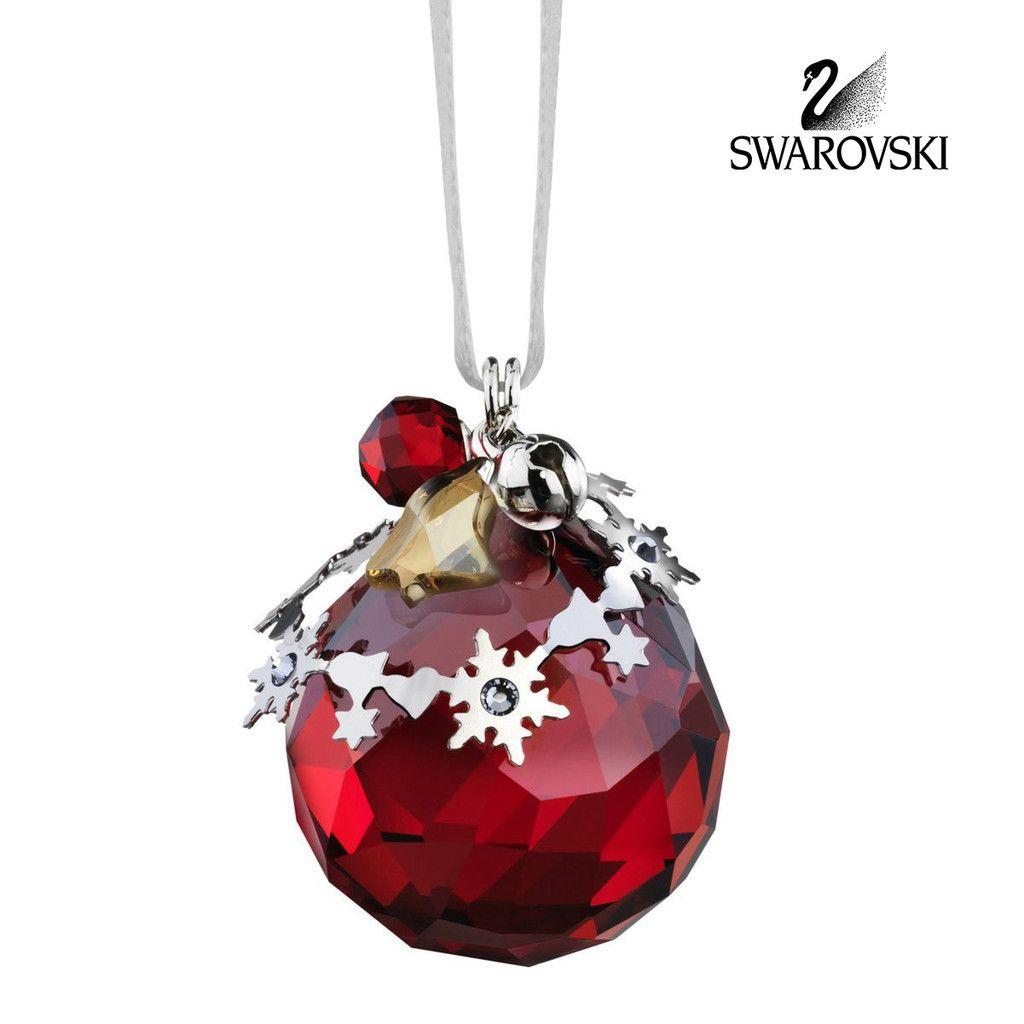 Swarovski Red Crystal Christmas Ornament LIGHT SIAM SATIN #5155701 ...