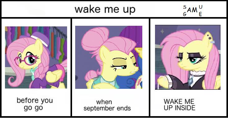 Wake me up (dumb meme) | My little pony, Pony, Fluttershy