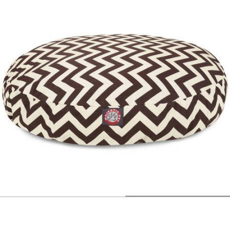 Majestic Pet Products Chevron Round Outdoor Indoor Pet Bed Removable Cover, Brown