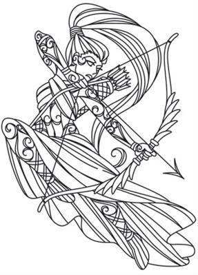 Artemis The Archer Image Line Art Goddess Tattoo
