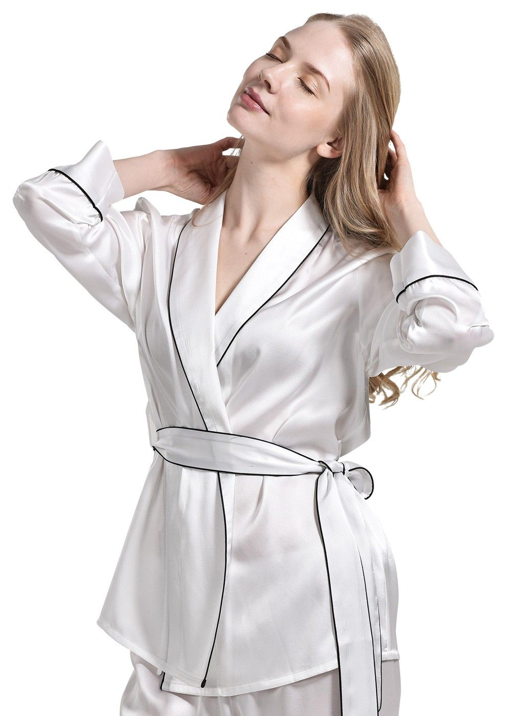 e6bdfffccb 100% Silk Pajama Top Plus Size Nightwear For Ladies - OOSilk